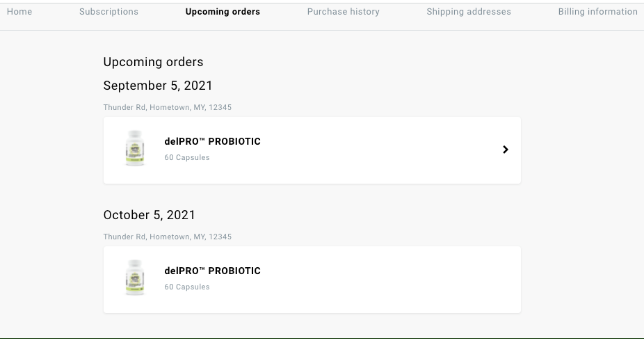 Upcoming Subscription Orders