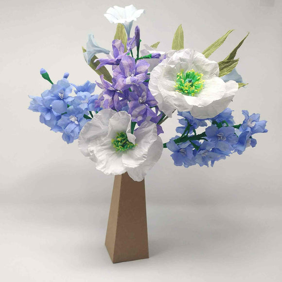 Handmade blue and white paper bouquet