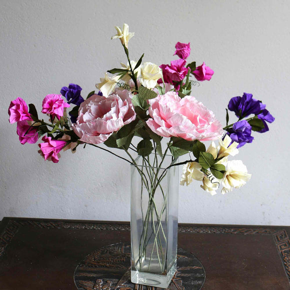 Sweet pea and peony paper bouquet