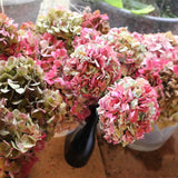 Real and handmade dried hydrangea flowers