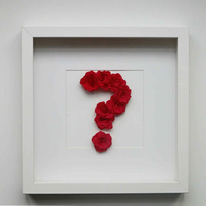 Question mark picture made paper roses