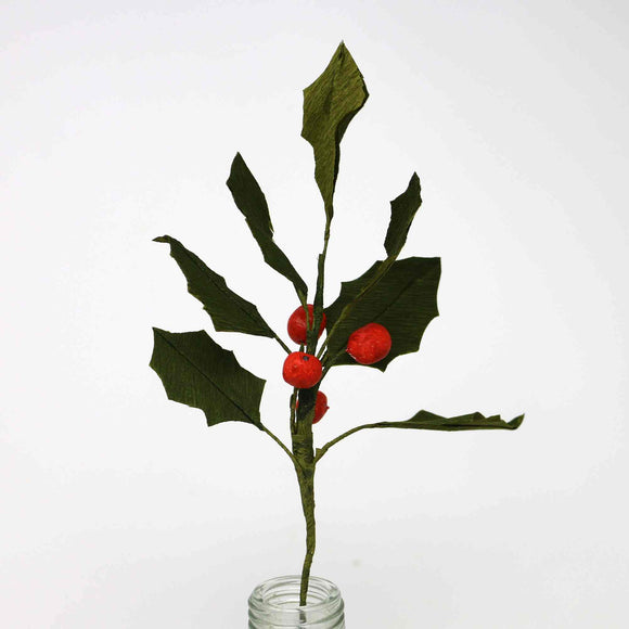 Paper holly sprig