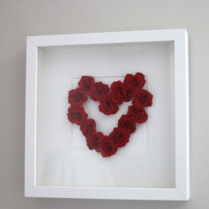 Heart picture made with paper roses