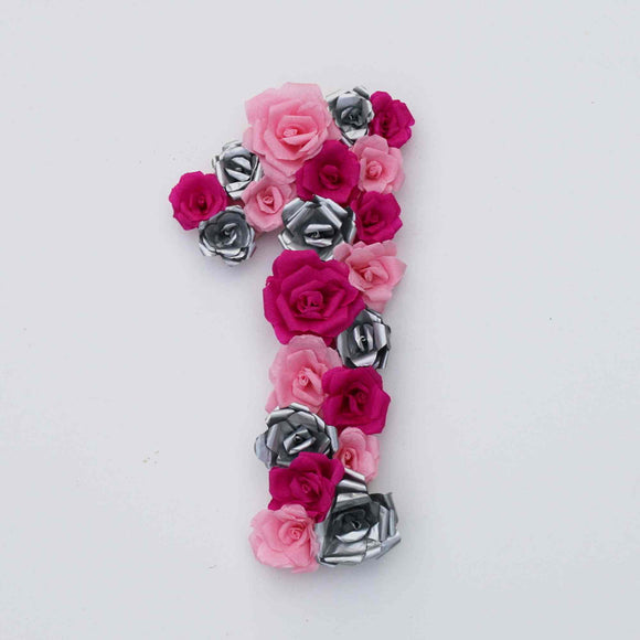 Paper rose covered number