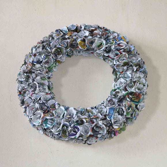 Large recycled newspaper rose wreath