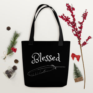 Blessed Tote Bag - White Feather