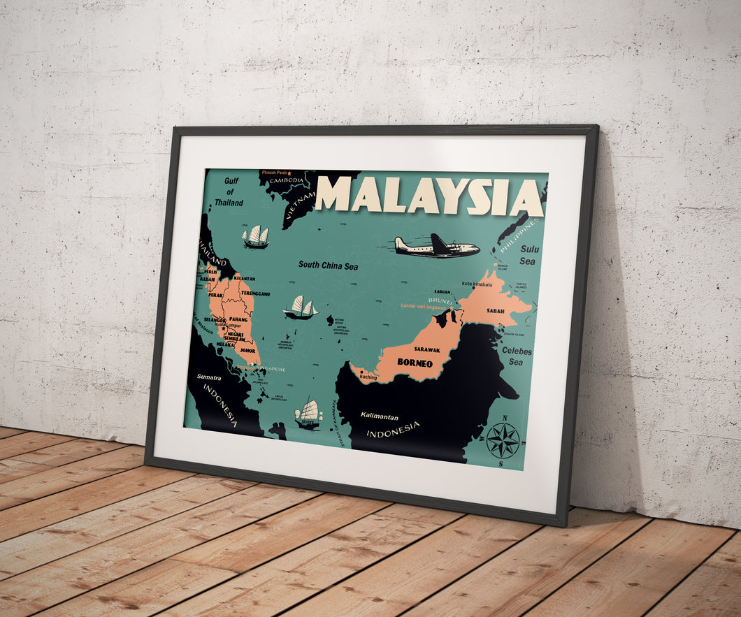 Vintage poster Malaysia - Malaysia Map | Wall Art Decor | Travel Poster | Fine Art Print