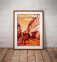 Load image into Gallery viewer, Vintage poster Philippines - Vigan - Calle Crisologo | Wall Art Decor | Travel Poster | Fine Art Print