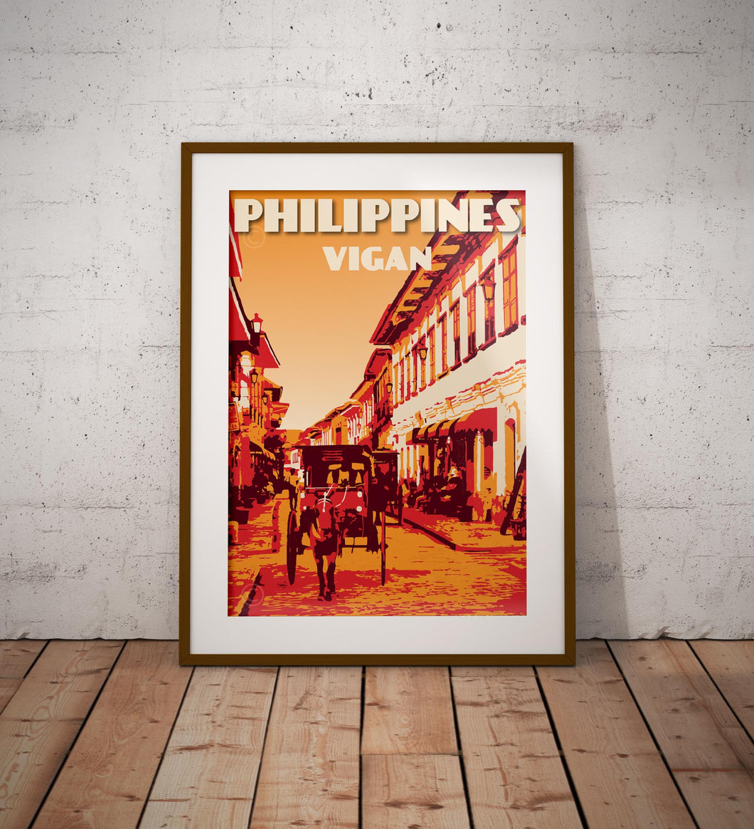 Vintage poster Philippines - Vigan - Calle Crisologo | Wall Art Decor | Travel Poster | Fine Art Print