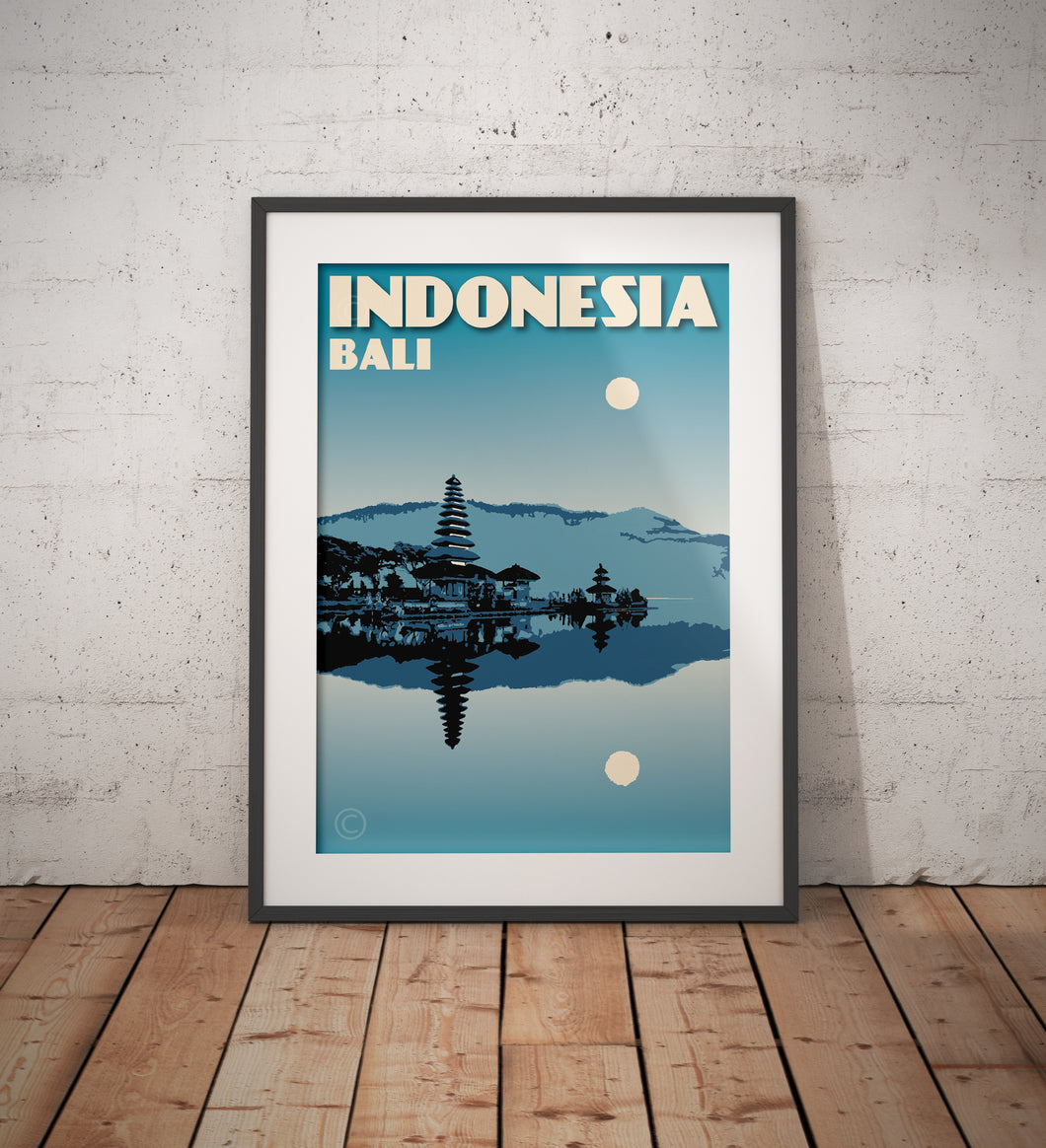 Vintage poster Indonesia - Bali - Pura Ulun Danu Bratan | Wall Art Decor | Travel Poster | Fine Art Print