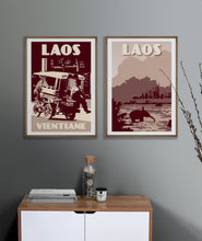 Load image into Gallery viewer, Vintage poster Laos - Vientiane  Tuk Tuk | Wall Art Decor | Travel Poster | Fine Art Print