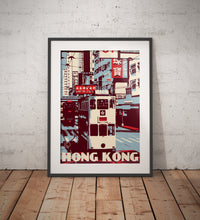 "Load image into Gallery viewer, Vintage poster Hong Kong - Wan Chai - Tramway ""Ding Ding"" 