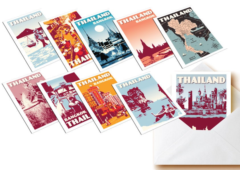 Vintage postcards Thailand - Set of 10 | Greeting cards | Fine Art Print