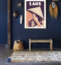 Load image into Gallery viewer, Vintage poster Lao Woman - Indigo and Orange - Retro - Art Poster - Frameable 30x40cm - Wall Art - decor - Travel - Gift - Portrait - Print