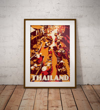 Load image into Gallery viewer, Vintage poster Thailand - Floating Market - Damnoen Saduak - Ratchaburi Province | Wall Art Decor | Travel Poster | Fine Art Print