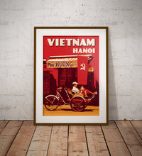 Load image into Gallery viewer, Vintage poster Vietnam - Hanoi Trishaw | Wall Art Decor | Travel Poster | Fine Art Print