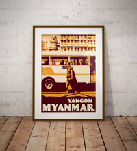 Load image into Gallery viewer, Vintage poster Myanmar - Yangon Monk | Wall Art Decor | Travel Poster | Fine Art Print