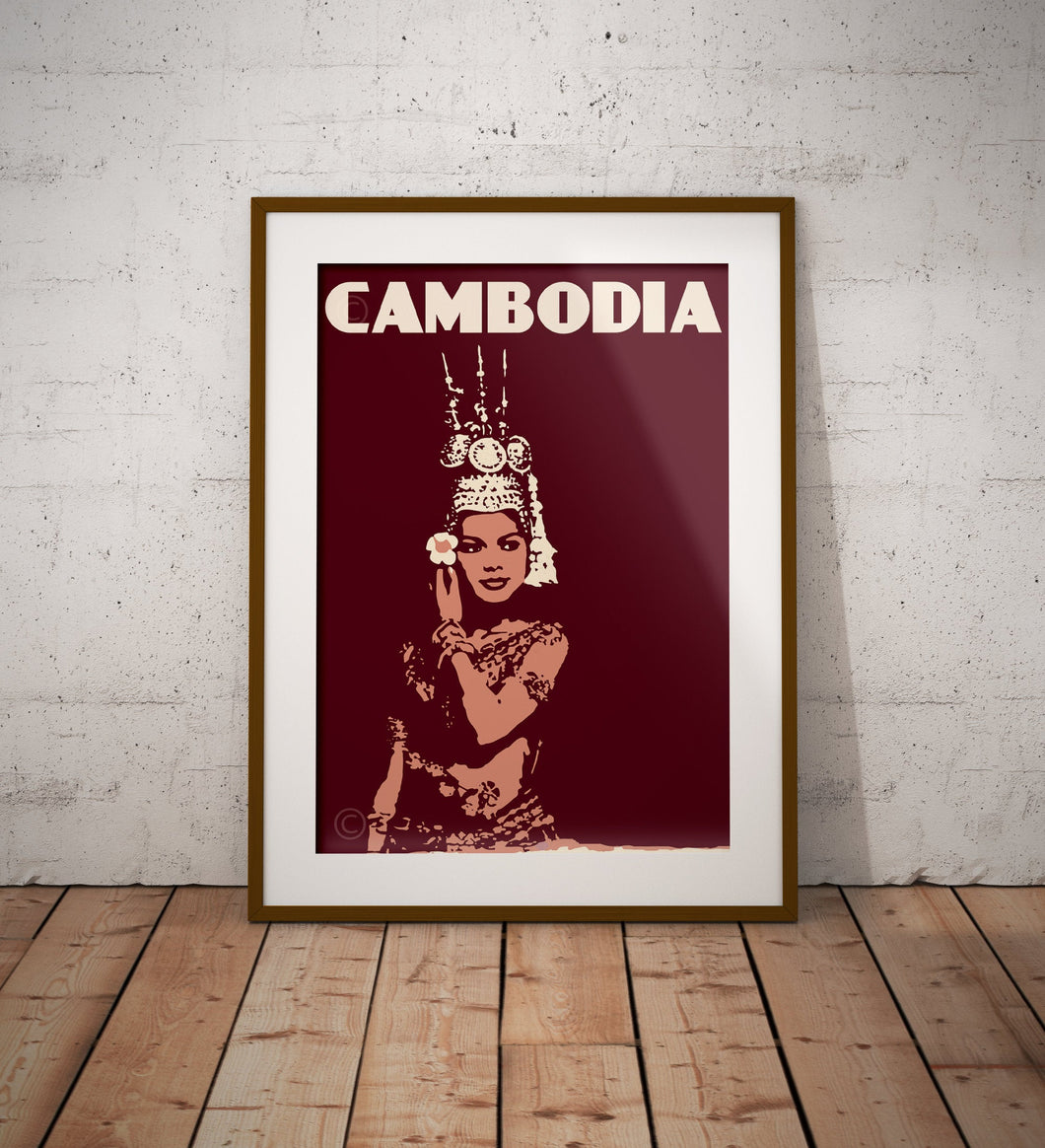 Vintage poster Cambodia - Apsara Dancer | Wall Art Decor | Travel Poster | Fine Art Print