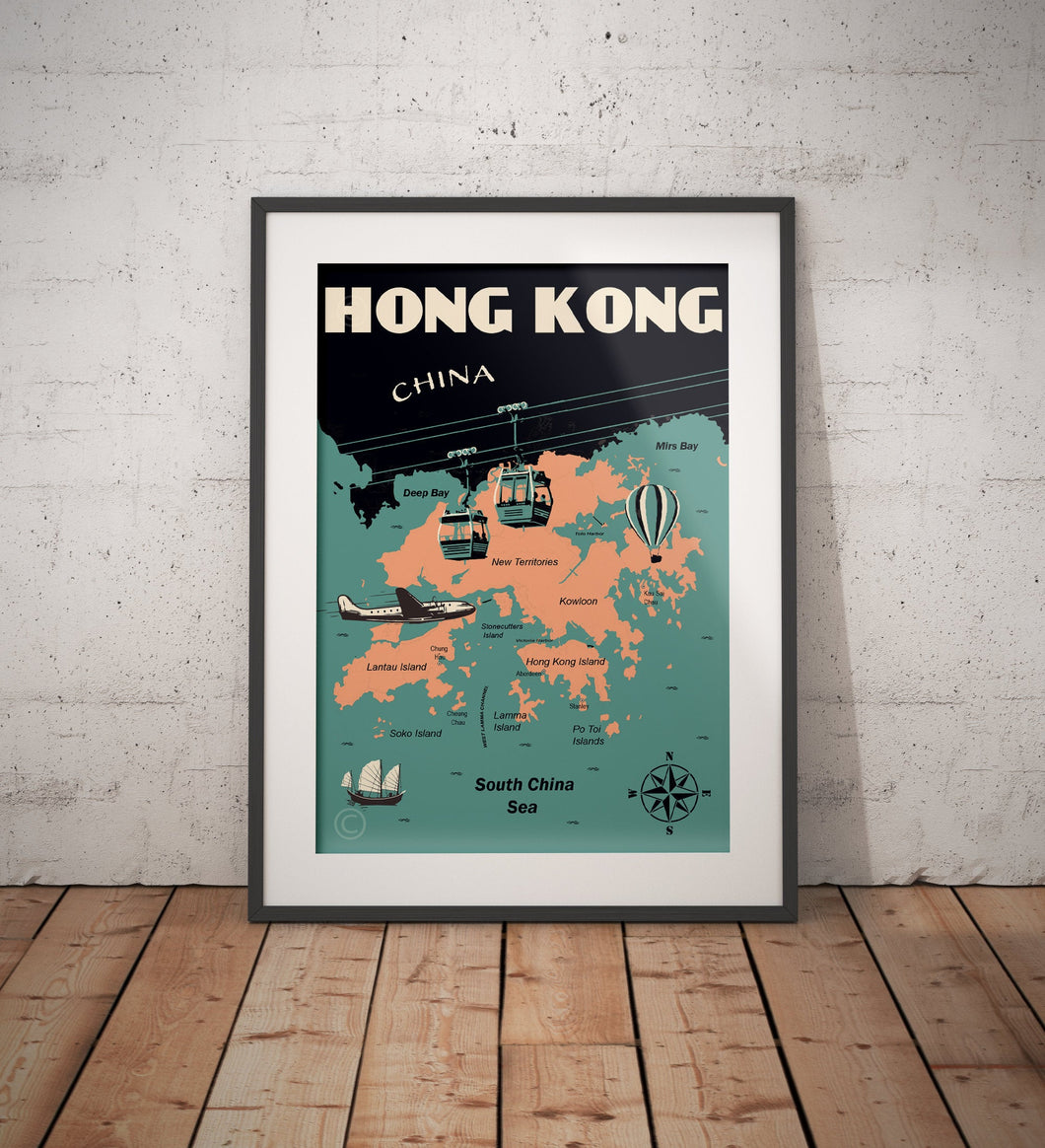 Vintage poster Hong Kong -Hong Kong Map | Wall Art Decor | Travel Poster | Fine Art Print