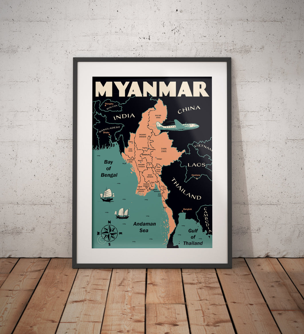 Vintage poster Myanmar -  Myanmar Map | Wall Art Decor | Travel Poster | Fine Art Print