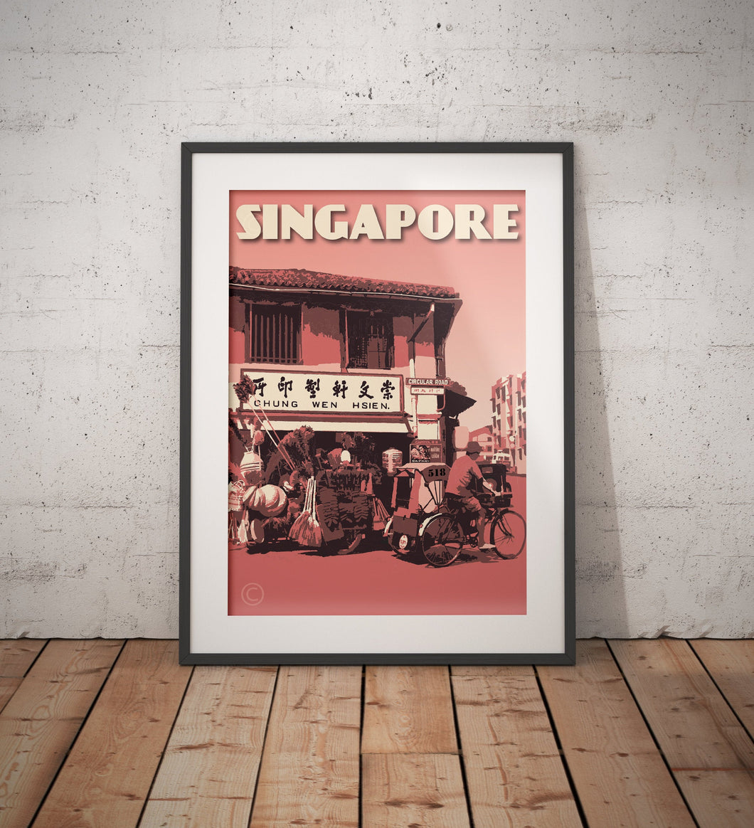 Vintage poster Singapore - Circular Road | Wall Art Decor | Travel Poster | Fine Art Print