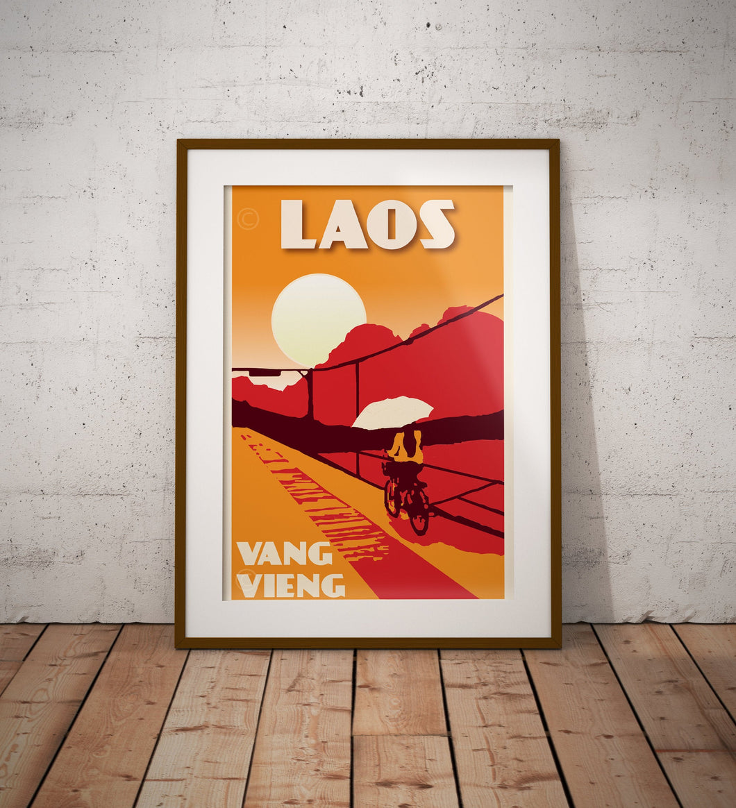 Vintage poster Laos - Vang Vieng Bridge | Wall Art Decor | Travel Poster | Fine Art Print