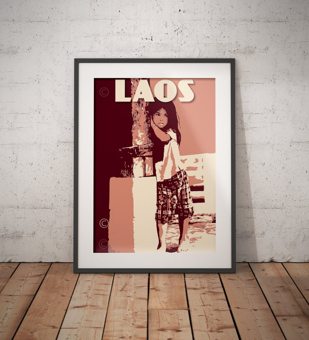 Vintage poster Laos - Muang Ngoi - Little Girl | Wall Art Decor | Travel Poster | Fine Art Print
