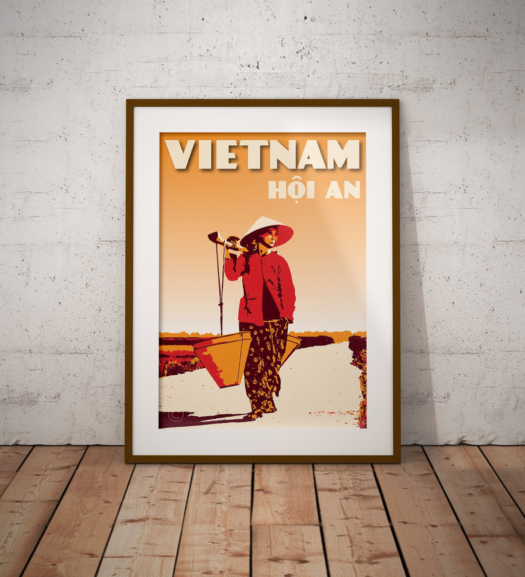 Vintage poster Vietnam - Hoi An - Bamboo Yoke | Wall Art Decor | Travel Poster | Fine Art Print