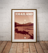 Load image into Gallery viewer, Vintage poster Thailand - Sunset River | Wall Art Decor | Travel Poster | Fine Art Print