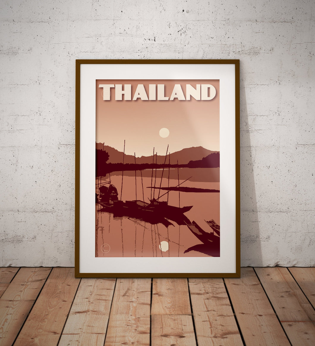 Vintage poster Thailand - Sunset River | Wall Art Decor | Travel Poster | Fine Art Print