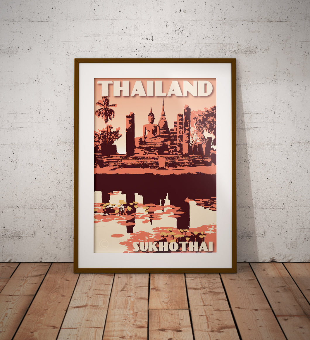 Vintage poster Thailand - Sukhotai | Wall Art Decor | Travel Poster | Fine Art Print