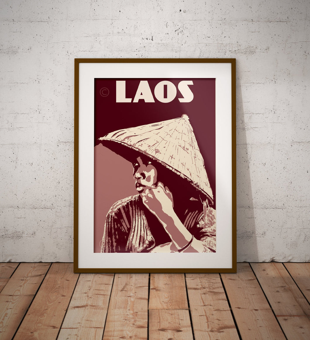 Vintage poster Laos - Lao Woman | Wall Art Decor | Travel Poster | Fine Art Print