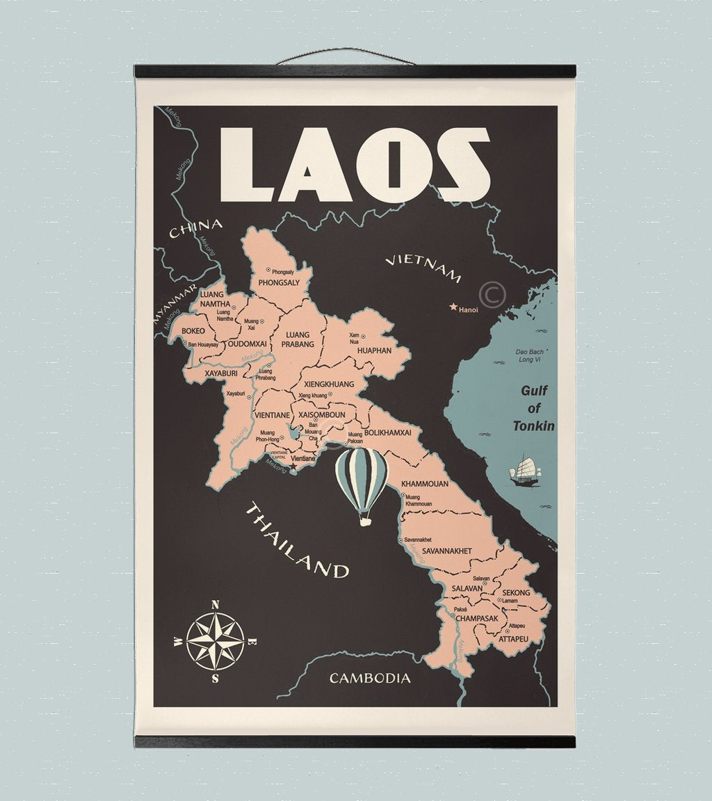 Vintage poster Laos - Laos Map Hanging Canvas 12