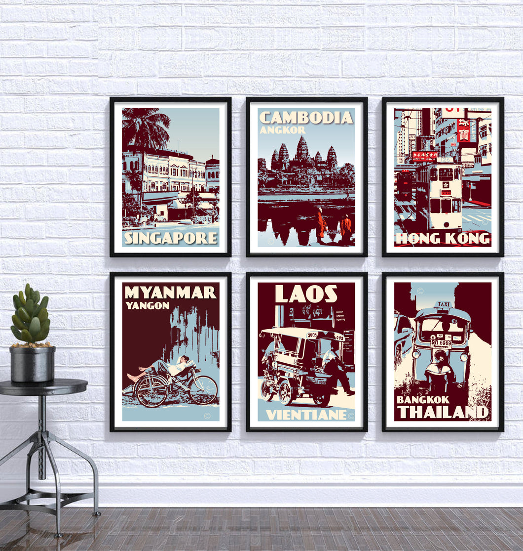Vintage poster Asia - Blue Mix Asia Print Set | Set of 6 Prints | Choose any 6 prints in my shop | Fine Art Print
