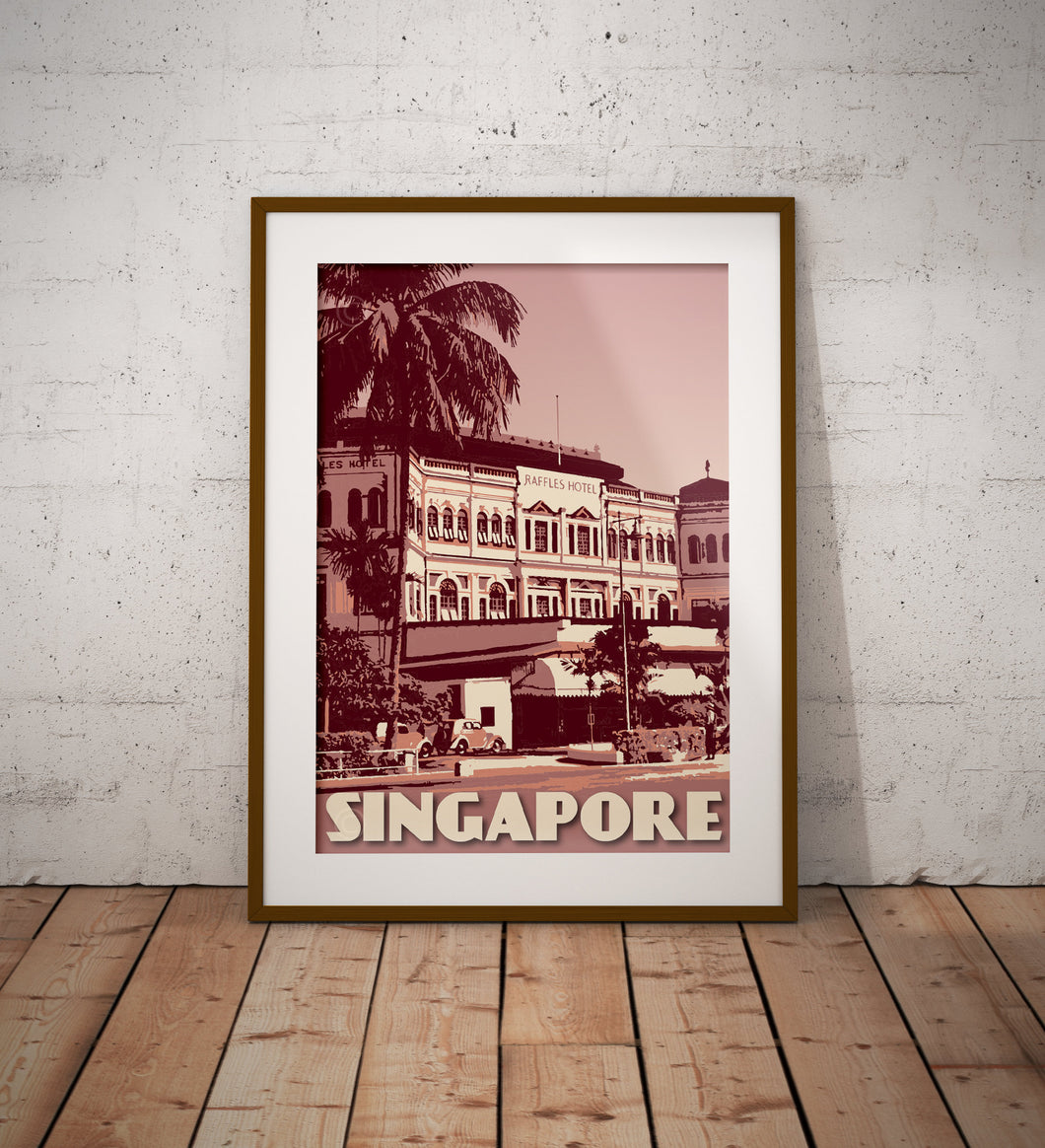 Vintage poster Singapore - Raffles Hotel | Wall Art Decor | Travel Poster | Fine Art Print