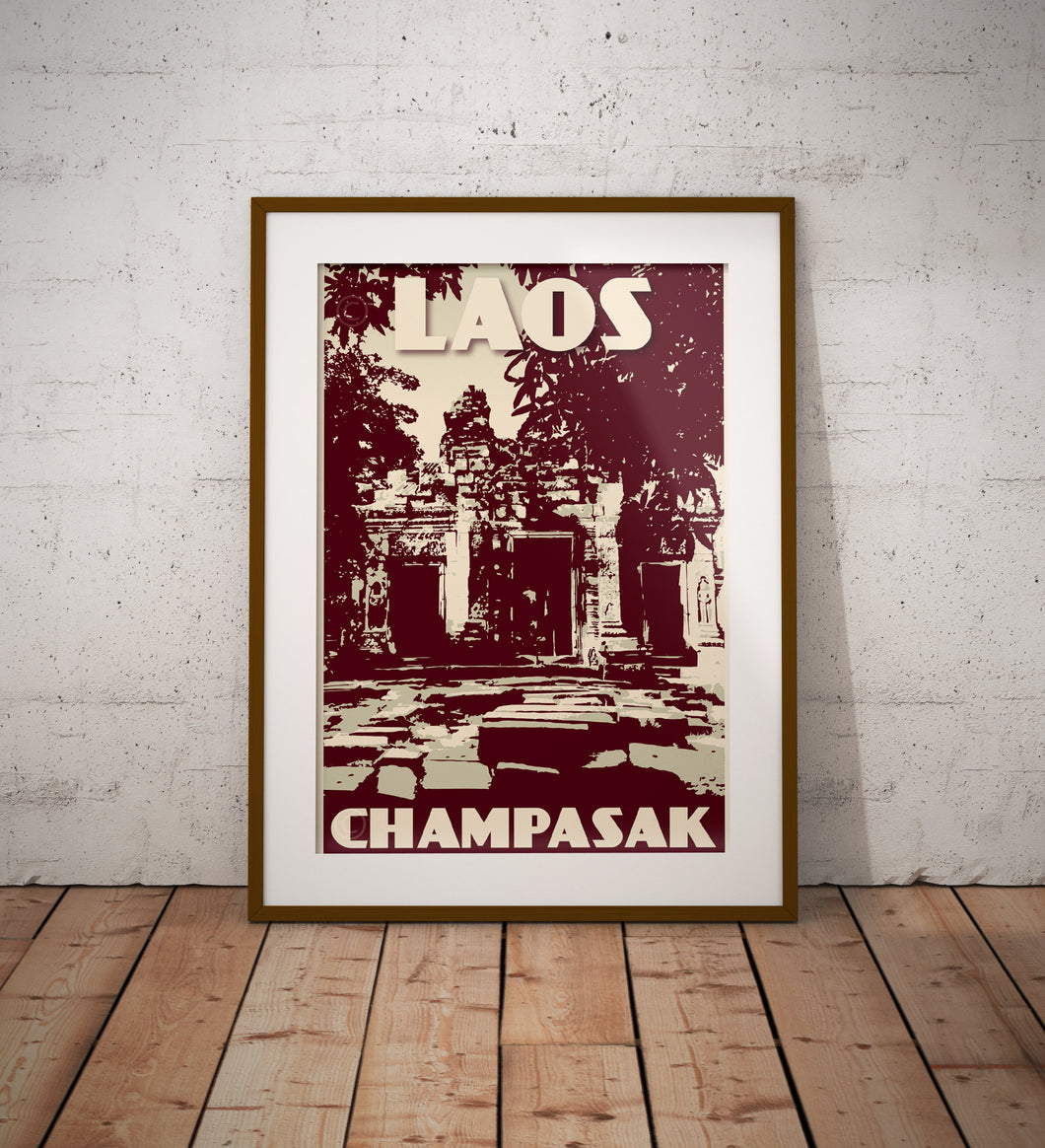 Vintage poster Laos - Champasak Wat Phu | Wall Art Decor | Travel Poster | Fine Art Print