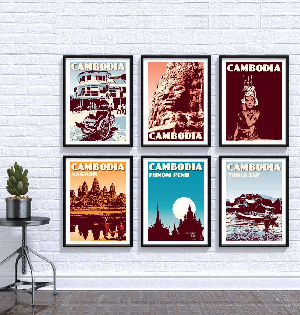 Vintage poster Cambodia - Cambodia Print Set | Set of 6 Prints | Choose any 6 prints in my shop | Fine Art Print