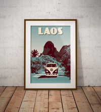 Load image into Gallery viewer, Vintage poster Laos  Vang Vieng - Volkswagen Kombi | Wall Art Decor | Travel Poster | Fine Art Print