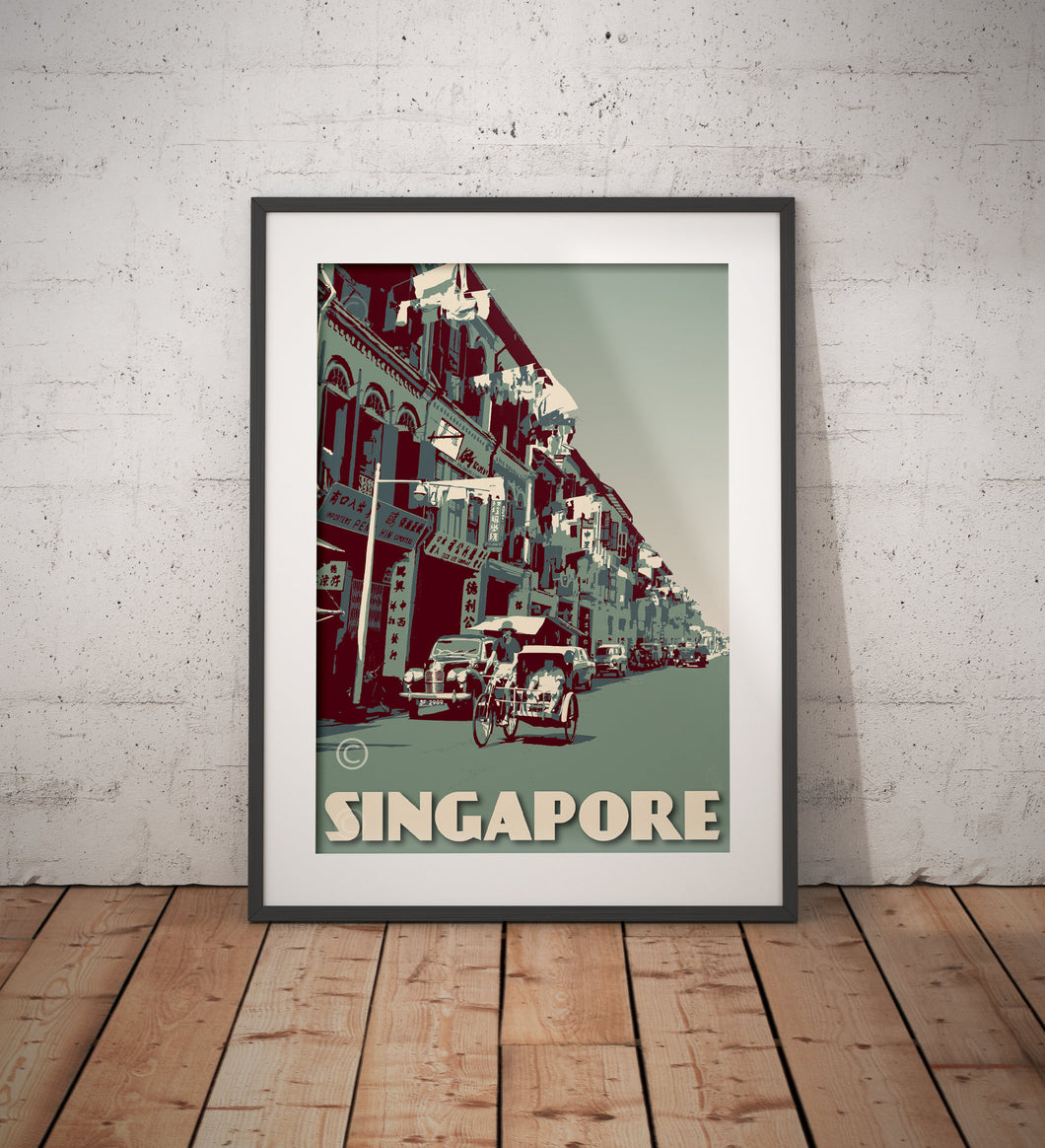 Vintage poster Singapore - Trishaw Ride | Wall Art Decor | Travel Poster | Fine Art Print