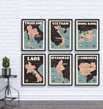 Load image into Gallery viewer, Vintage poster Laos - Laos Map | Wall Art Decor | Travel Poster | Fine Art Print