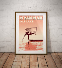 Load image into Gallery viewer, Vintage poster Myanmar - Inle Lake - Fisherman III | Wall Art Decor | Travel Poster | Fine Art Print