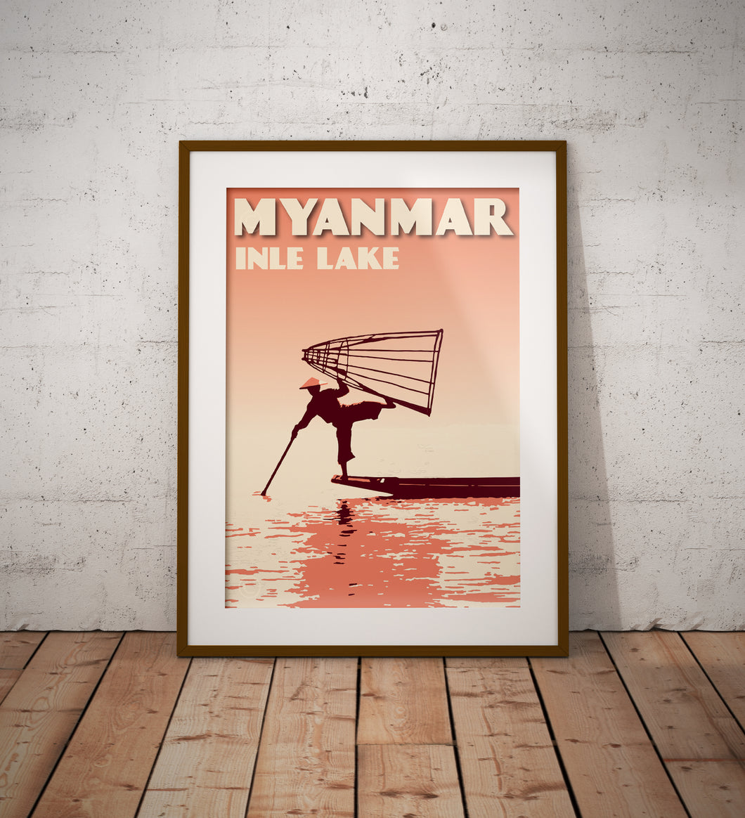 Vintage poster Myanmar - Inle Lake - Fisherman III | Wall Art Decor | Travel Poster | Fine Art Print