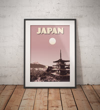 Load image into Gallery viewer, Vintage poster Japan - Pagoda Chureito - Mount Fuji | Wall Art Decor | Travel Poster | Fine Art Print