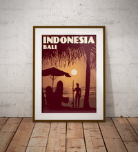 Load image into Gallery viewer, Vintage poster Indonesia - Bali - Kuta Beach | Wall Art Decor | Travel Poster | Fine Art Print