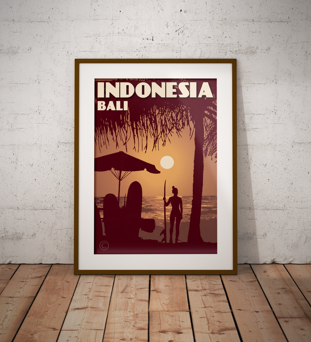 Vintage poster Indonesia - Bali - Kuta Beach | Wall Art Decor | Travel Poster | Fine Art Print