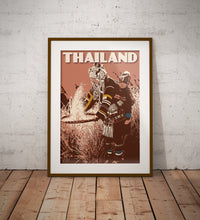 Load image into Gallery viewer, Vintage poster - Thailand Print Set | Set of 3 Prints | Phang Nga Bay | Akha Tribe | Sunset River | Earthy Tones | Terracota | Fine Art Print
