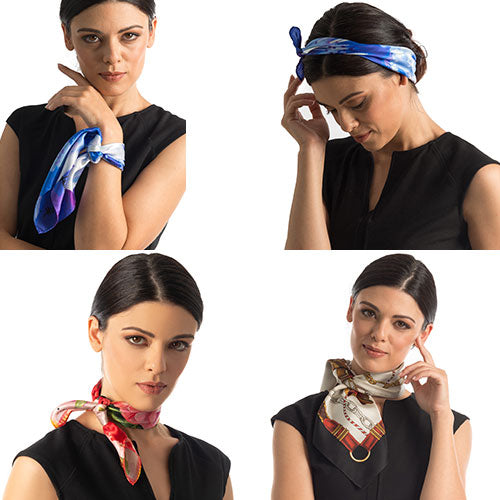 ways to wear a silk bandana scarf