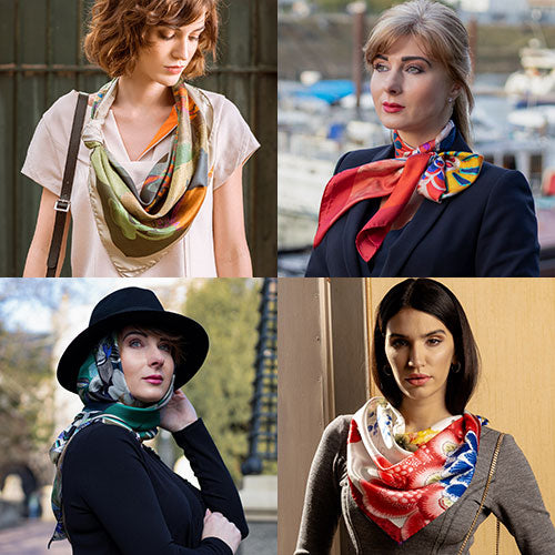 luxury Italian silk square scarves for women