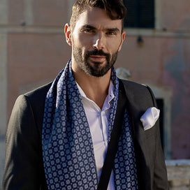mens silk wool double sided reversible scarves