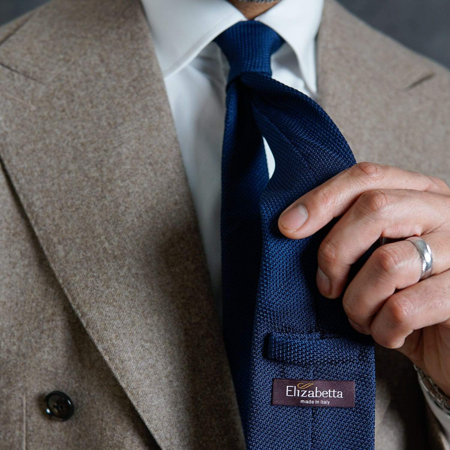 luxury Italian blue grenadine necktie